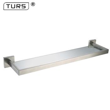 European Single Tier Glass Bathroom Shelf Wall Mounted Brushed Stainless Steel Tempered Glass Bathroom Accessories