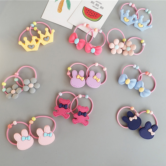2pc lot Little Girls  Flower Bow Hair Ties Crown Rabbit Bear Patternr Resin Plastic  Hair Band Rope Head Decoration HT065 356d88a2e54