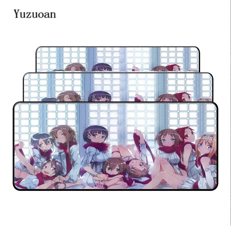 Yuzuoan Free Shipping Large 90x40cm Anime Girl Fashion Mouse Pad Game Gamer Gaming Mousepad Keyboard Mat Lock Edge Pad As Gift