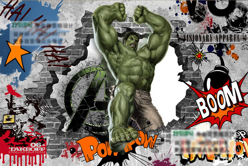 Avengers Photo Wallpaper Custom 3D Hulk Wallpaper Graffiti Wall     Avengers Photo Wallpaper Custom 3D Hulk Wallpaper Graffiti Wall Mural  Children Bedroom Office TV Backdrop Super hero Room decor in Wallpapers  from Home
