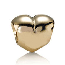 Authentic 925 Sterling Silver Bead Charm Gold Color Big Smooth Love Heart Beads Fit Women Pandora Bracelet Bangle DIY Jewelry(China)