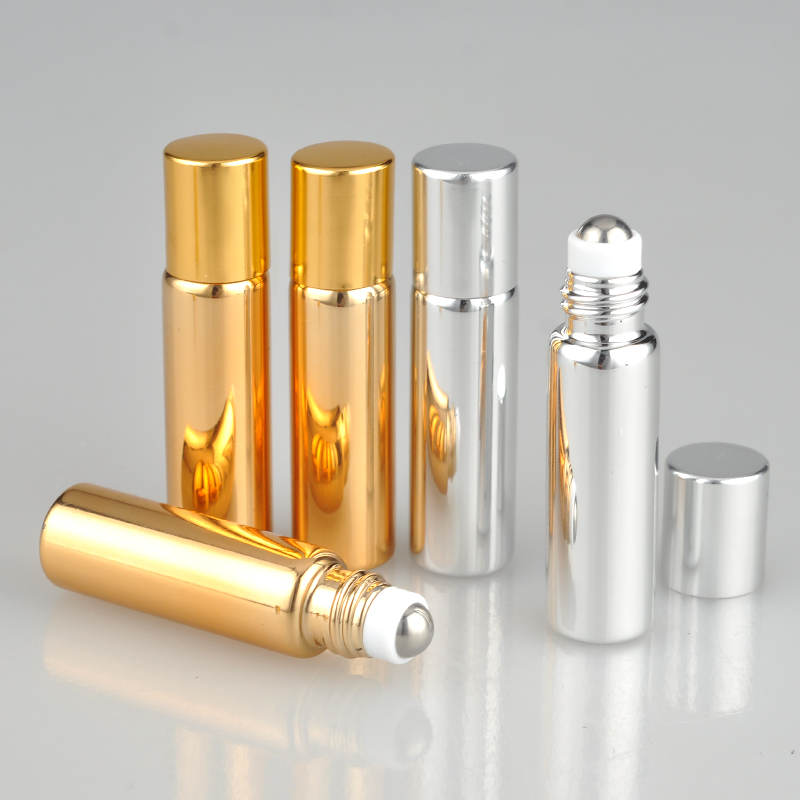 10pcs UV Glass Gold Silver Roll on Ball Small Portable Essential Oil Bottle With Stainless Steel Roller Ball 5ml 5g 10ml 10g недорого