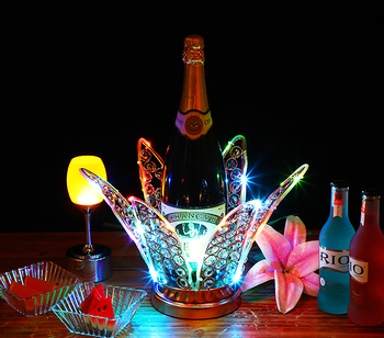 Lotus flower rechargeable LED Luminous Beer Wine Holder Glowing Champagne Cocktail Drinkware Holder disco party bar accessories