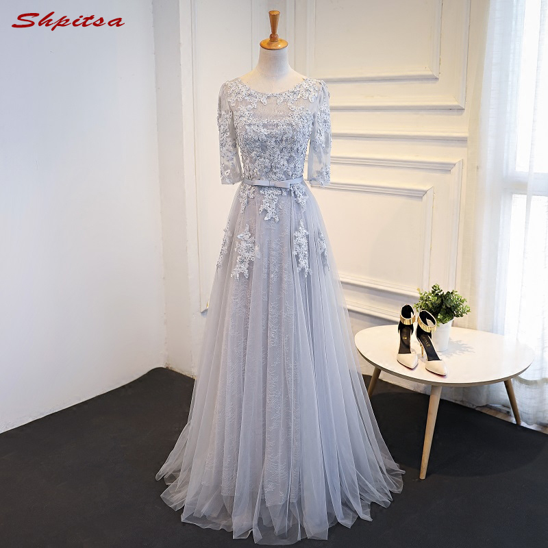 Grey Long Lace Evening Dresses Party Women Beaded A Line Custom Made Formal Evening Gowns Dresses