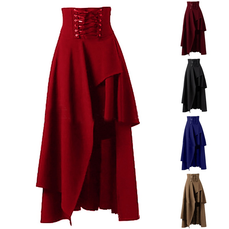 New S 2XL Lolita Patchwork Long Skirt Women Irregular High Waist Skirt Lace up Design Pure Color Female Steampunk Party Skirts-in Skirts from Women's Clothing on Aliexpress.com | Alibaba Group