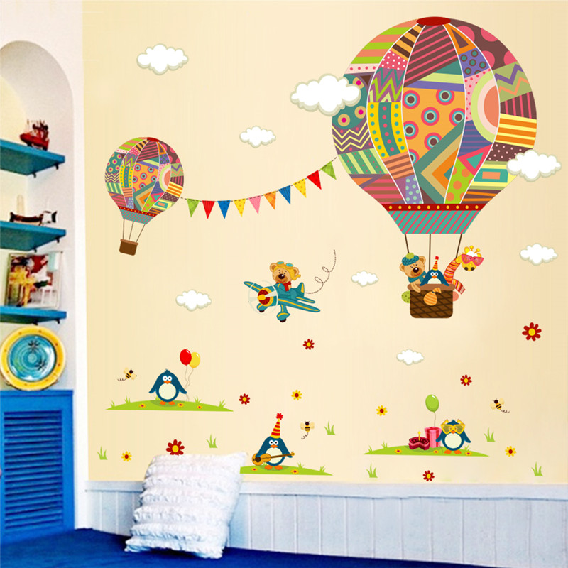 Colorful Hot Air Balloon Animal Nursery Room Wall Sticker Bear Giraffe  Children U0027s Room Cartoon Classroom Wall Decals Poster In Wall Stickers From  Home ... Part 62