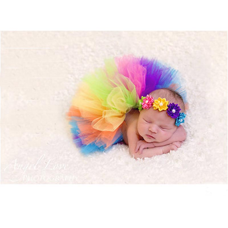 Rainbow style Baby Photography Tutu Matching Flower Headband Newborn Tutu skirt Pattern for 0 – 6 Months GM066