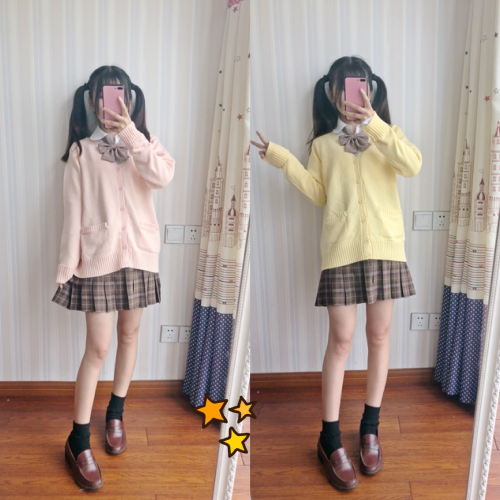 Japan school sweater Spring and autumn 100% V-neck cotton knitted sweater JK uniforms cardigan multicolor girls student cosplay