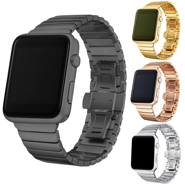 Luxury  watchband metal straps For Apple watch band 42mm stainless steel Link bracelet 38mm butterfly loop black gold Silver