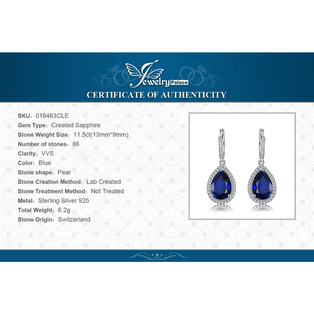 Jewelrypalace Luxury Pear Cut 12.4ct  Blue Created Sapphire Dangle Earrings Solid 925 Sterling Silver Fine Jewelry for Women