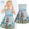O Vestido da menina 2015 Nova Marca Do Bebê Roupa Dos Miúdos Vestidos Crianças Princesa Vestidos de Festa para Meninas Dos Desenhos Animados animais, coelho borboleta