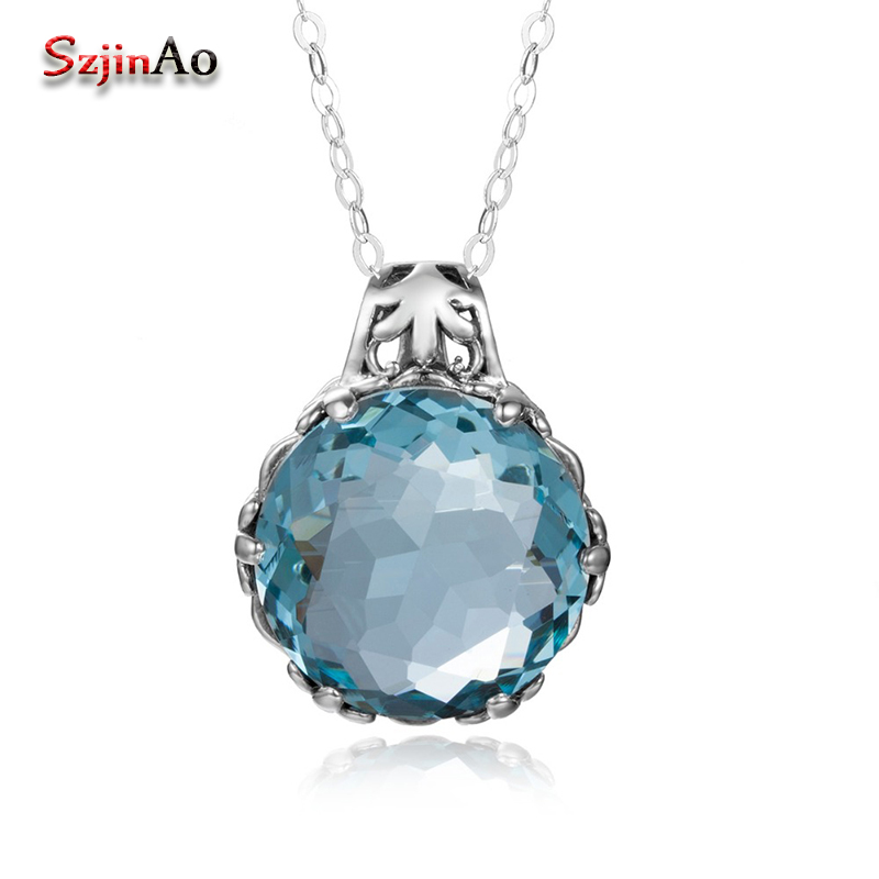 Szjinao Austrian Blue Crysta Pendant Stone Fashion Real 925 Sterling Silver Jewelry Statement necklaces pendants for