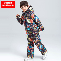 Winter Impression Kids Ski Set Windproof Waterproof Ski Jacket Trousers Outdoor Professional Boy Children New Style Suit Set