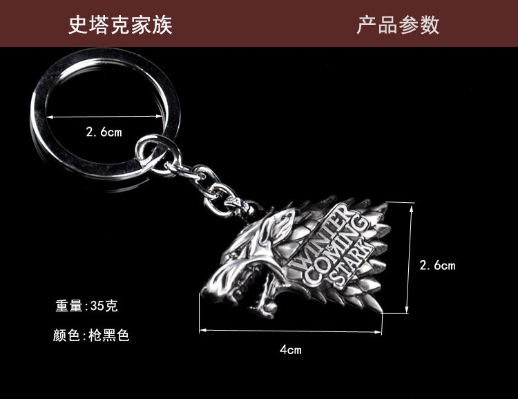 Game of Thrones Family Logo Car Keychain