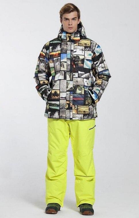 Prix pour 2017 New mens top qualité snowboard de ski costume hommes costume masculin ski costume de ski veste et pantalon de ski jaune vêtements de ski de patinage costume