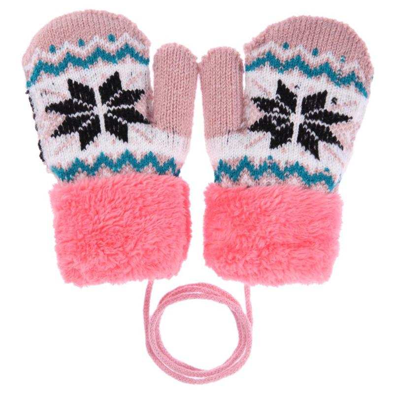 Cute Boy Girl Winter Gloves Baby Warm Knit Full Finger Heart Gloves 0-12 Months