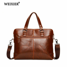 WEIXIER Mens PU Travel Laptop Fashion High Quality Solid Color Retro Tote Bag Classic Business Official Occasion