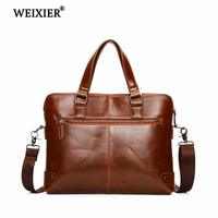 WEIXIER Men's PU Travel Laptop Fashion High Quality Solid Color Retro Tote Bag Classic Business Travel Official Occasion Tote