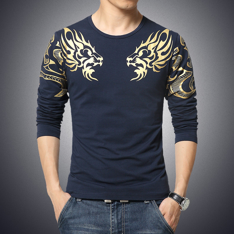 2017 Autumn new high-end men's brand t-shirt fashion Slim Dragon printing atmosphere t shirt Plus size long-sleeved t shirt men 3