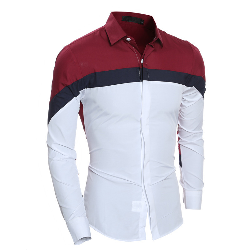 2020 Fashion Autumn Mens Shirts Brand Clothing Slim Fit Patchwork Striped Clothes Male Long Sleeve Shirt for Men Camiseta Male