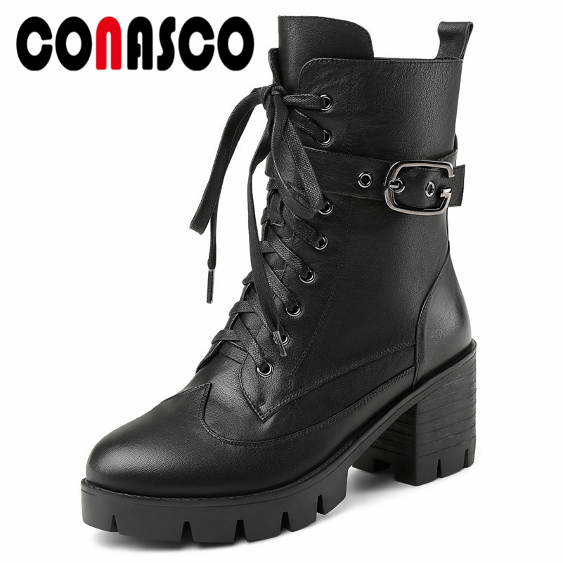 CONASCO Rock Buckles Women Genuine Leather Ankle Boots High Heels Warm Autumn Winter Short Martin Shoes Woman Platforms Boots fedonas 2019 brand women buckles ankle boots thick heels autumn winter motorcycle boots platforms short martin shoes woman