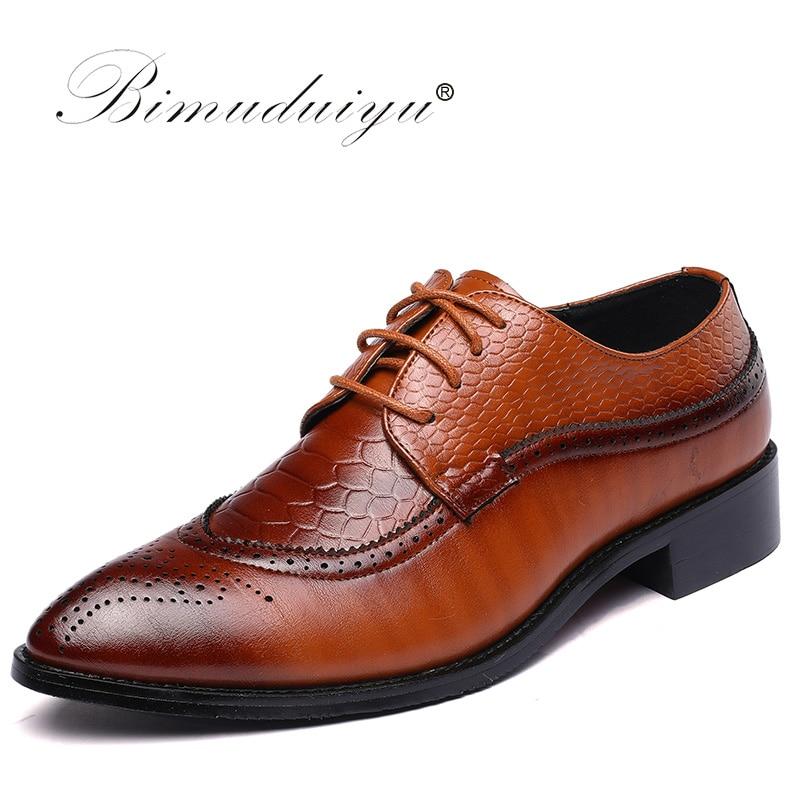 BIMUDUIYU Bullock Vyrai Lace Up Mens Formal Dress Office Vestuvių - Vyriški batai