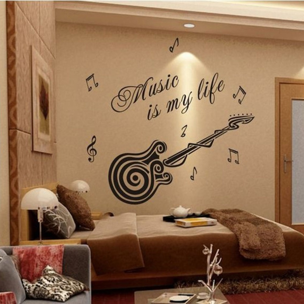 Large Size 70*80cm Music Sticker Music Is My Life Theme Music Bedroom Decor  U0026 Guitar Pattern Vinyl Removable Wall Sticker New