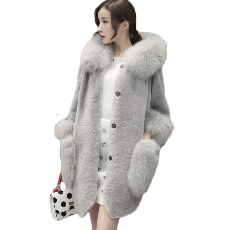 2017 New Winter Women Double-faced Fur Faux Fur Coat Sheep shears Hooded Long Warm Fur Coats Gray Ladies Faux Fur Jackets RE0183