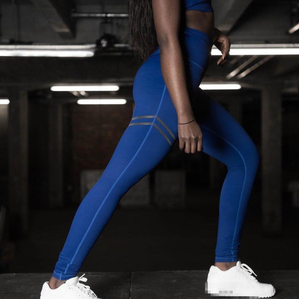SLHJC Women Leggings Sporty Stripe Print Fitness Bodybuilding Pants Female Push Up  Elasticity High Waist Active Jeggings