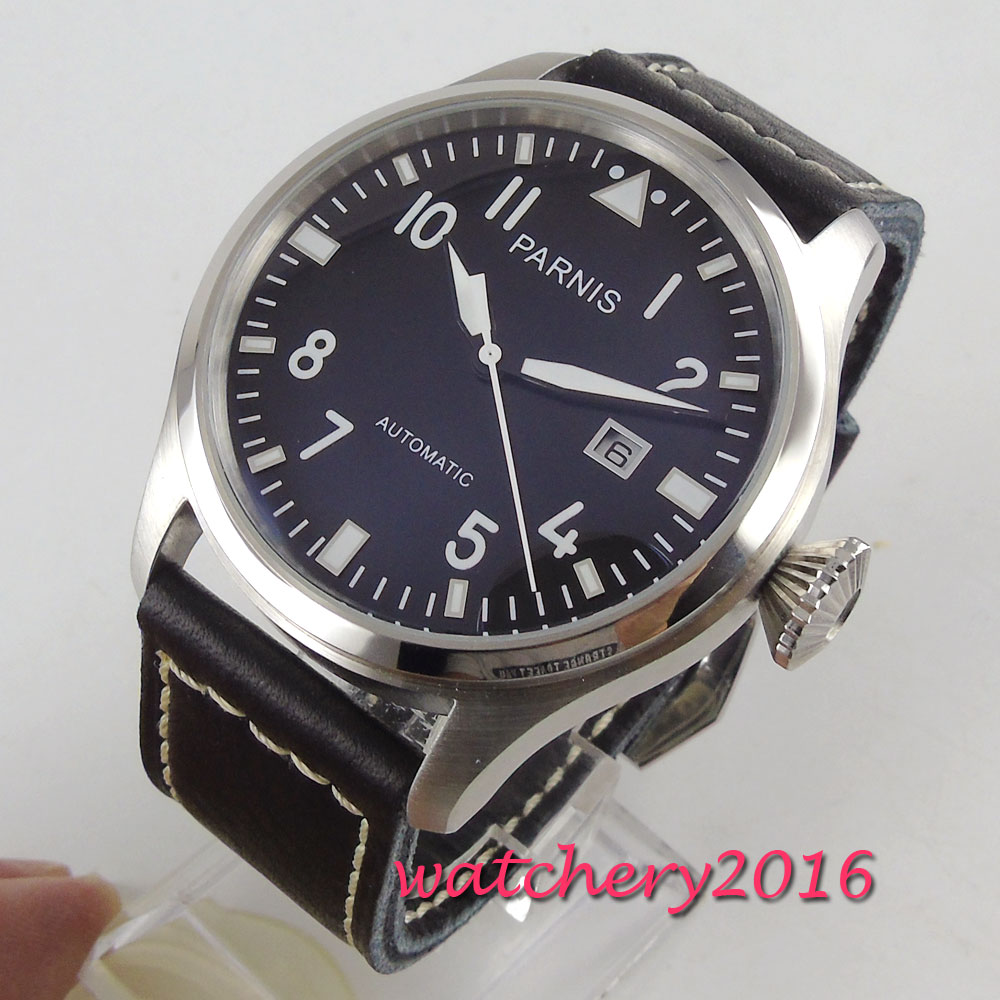 47mm PARNIS black dial Stainless steel date ST2551 automatic strap mens watch