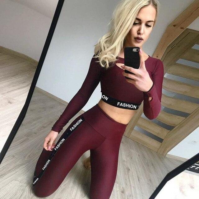 7b7e5e96e4 ESHINES Fall Long Sleeve Yoga Suit Workout Clothes For Women Fashion Print  Sport Leggings Bras Suit