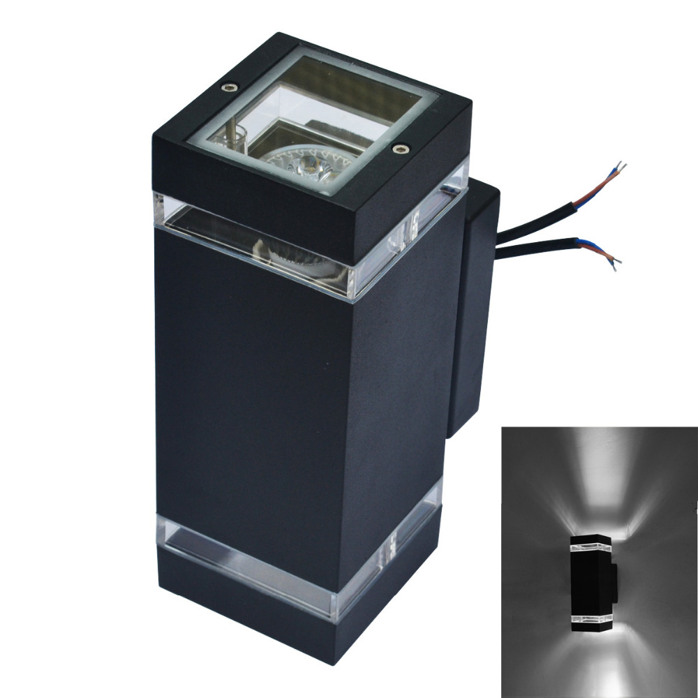 ФОТО 2pcs Modern Outdoor Waterproof LED Wall Lamps AC85-265V With 8W LED Bulbs IP65 Aluminum Courtyard Garden Porch Corridor Lights