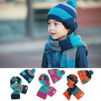 Fashion New Winter Patch Color Children Skullies Beanies Scarf Hat Two Piece Set Baby Boys Girls