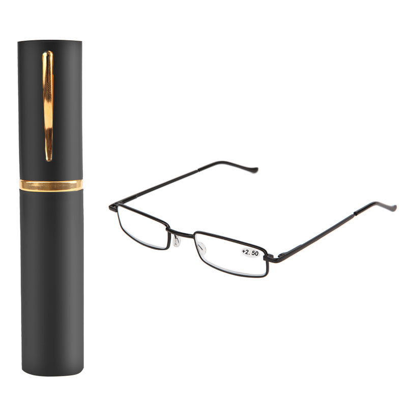 1PC Unisex Stainless Steel Frame Resin Reading Glasses 1.00-4.00 With Tube Case -Y107