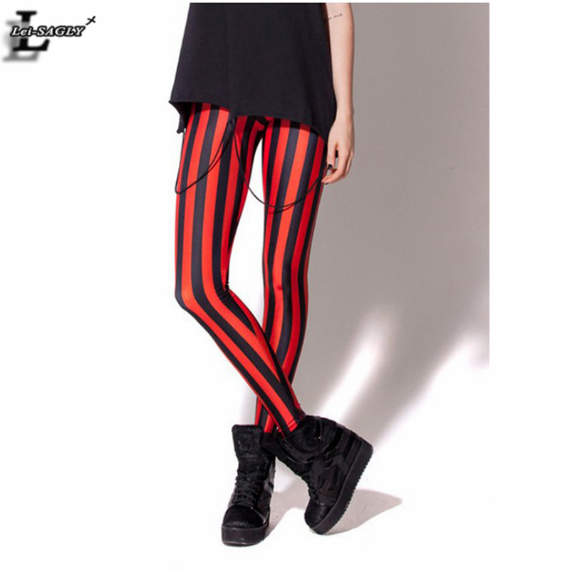 Hot! 2017 Red Striped Digital Print Leggings Gothic Creative Fashion Fitness Women Shape Slim Popular Pants Brand Clothes BL-101