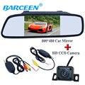 """5 """"universal monitor con cámara de vista trasera del coche del espejo de coche + reveiver inalámbrica y transmisión de 4 luces del ir para coches diferentes"""