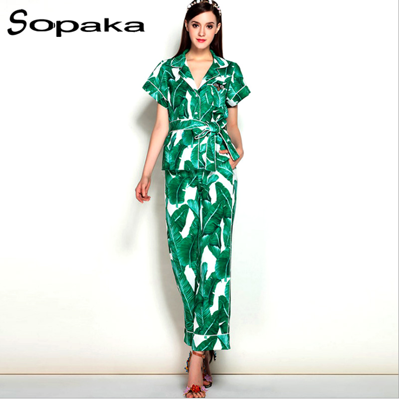 2018 Spring Casual Sashes Shirt Top + Long Pants 2 Two piece Set Green Leaf Print Runway Designer Women Sets Trousers Suit