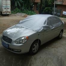 Universal Car Covers Prevent Heat Cold Snow Rain Sun Dust Half Car Cover PVC Coating Dustproof UV Outdoor Size M/XL