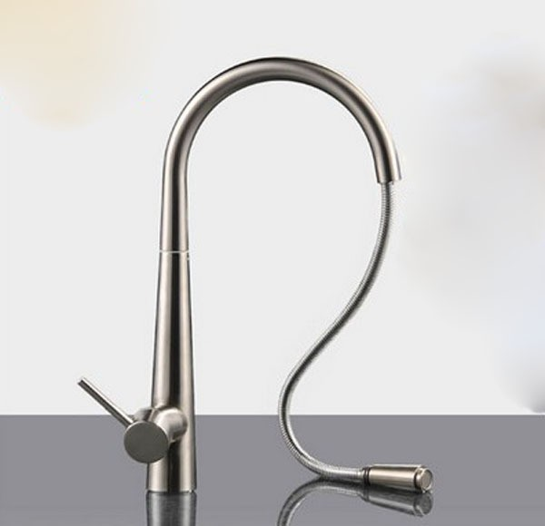 Free shipping brushed Nickel Kitchen Faucet Pull Out Single Handle Swivel Spout Vessel brass Sink Mixer Tap KF081 antique brass swivel spout dual cross handles kitchen