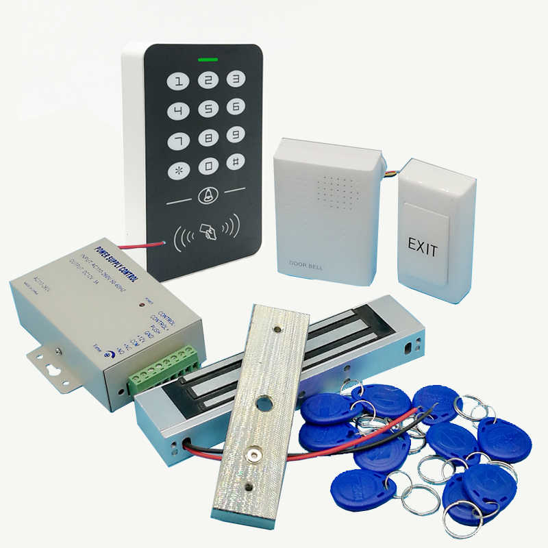 Penuh RFID 125 KHz Pintu Akses Kontrol Sistem Kartu Akses Kontrol Electric Magnetic Lock & Power Supply