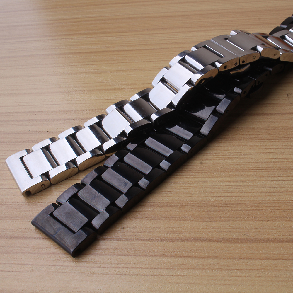 Stainless steel bracelet solid metal watchband watch strap18 20 22 24mm wristwatches band black silver watch accessories polish stylish 8 led blue light digit stainless steel bracelet wrist watch black 1 cr2016