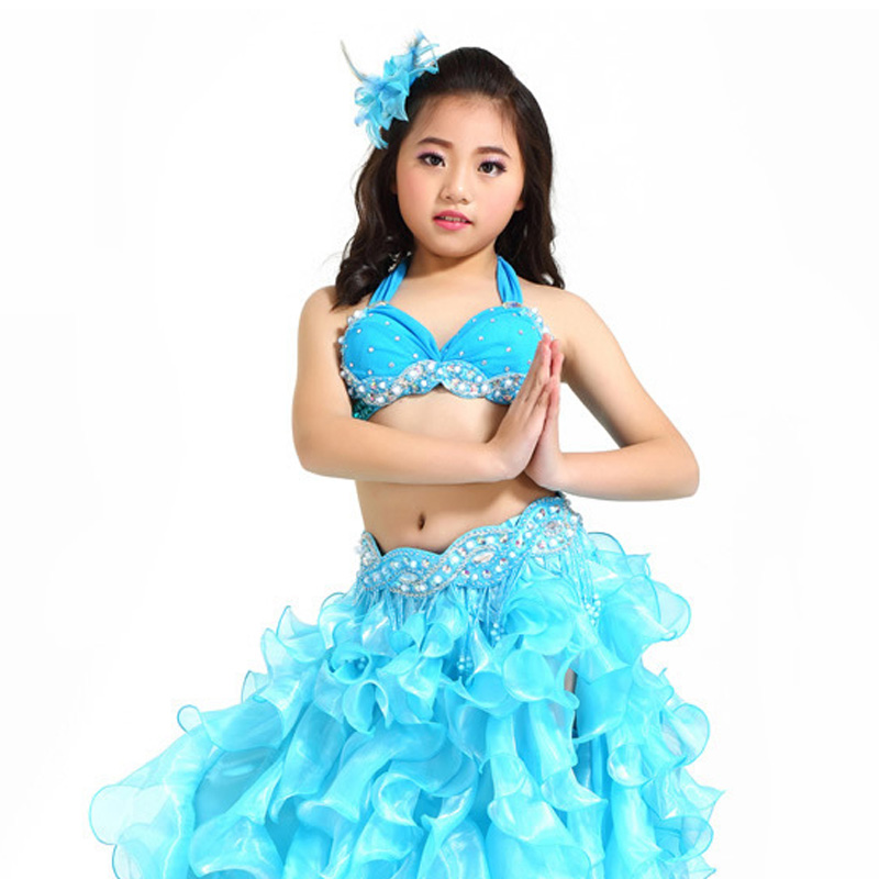 KID/'s Lace Blouse+Skirt 2pcs set Girl/'s Belly Dance Costumes Dance School Outfit