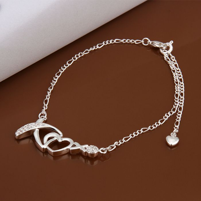 HOT! Silver plated Anklets,925 fashion jewelry Silver charm Anklets rhinestone heart foot chain Anklets for women