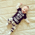 2017 new style baby boy girl clothes Letter black Long sleeve T shirt + pants newborn baby clothing set