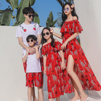 Mother Daughter Dress Family Matching Clothes Mother And Daughter Clothes Father Son Clothes Family Look Matching Clothes family matching clothes summer fashion mother daughter dress father son short sleeve cotton tshirt patchwork striped family look