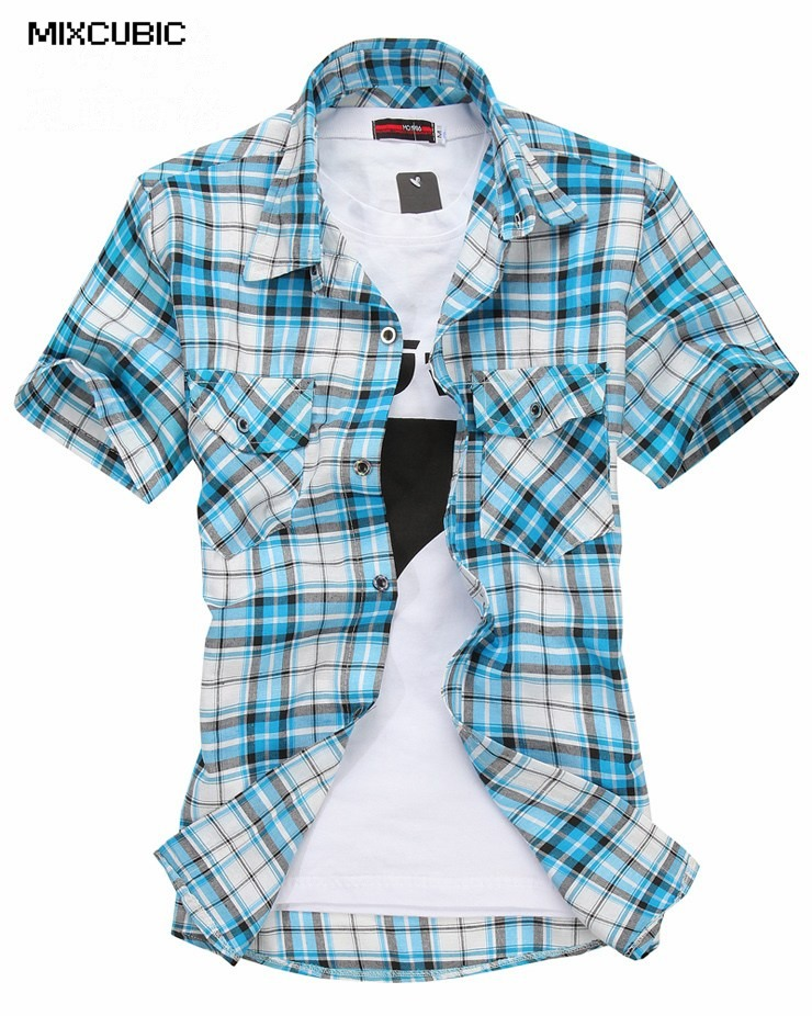 Buy mixcubic 2016 spring summer short for Mixed plaid shirt mens