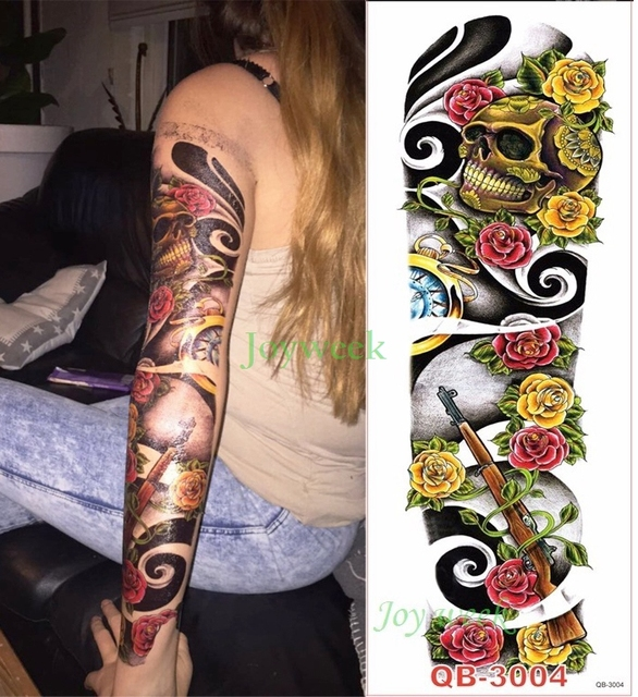 Tatuajes Pegatina impermeable tatuaje temporal tatuaje gran tamaño cráneo arma rosa