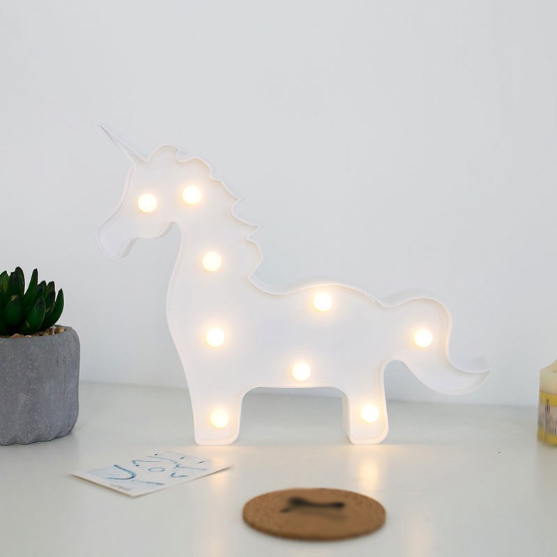 Unicornio LED Nightlight Kids Birthday Party Room Decoration Blanco / - Decoración del hogar