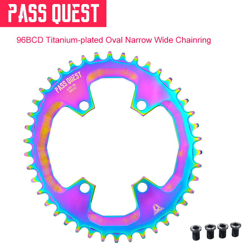 96mm BCD OVAL Durable Titanium-Plated <font><b>ChainRing</b></font> 32T 34T 36T 38T 40T 42T Suit for M6000 <font><b>M7000</b></font> M8000 M9000 Bicycle Chainrings image