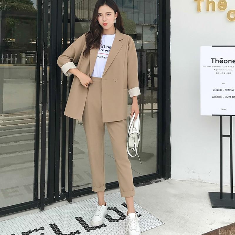 BGTEEVER Casual Solide Femmes Pantalon Costumes Col Cranté Blazer Veste & Crayon Pantalon Kaki Femelle Costume Automne 2019 haute qualité